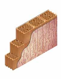 Кладка стены из керамических блоков KERAKAM 25 с декоративной фасадной штукатуркой